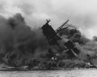 "Wreckage of the USS Arizona after attack on Pearl Harbor. Image from Wikipedia ""Day of Infamy speech"""