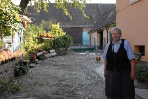 Hof courtyard in Grosspold, Romania Lisi's home town. House is at right; Pig pen with 2 huge pigs in the back Owner pictured