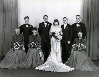 Left to Right, Ken Eggen (who fainted during the ceremony) Frank Ebner Gartz (17-year old brother to Dad), Lillian, Fred, Will Gartz (Dad's 29-year old brother). Seated: Arlyne Hennings, Myrtle Haling, Gertrude Nowles, maid of honor.