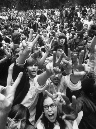Young Protestors At The 1968 Democratic Convention In Chicago